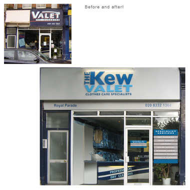 Kew Valet signage and livery